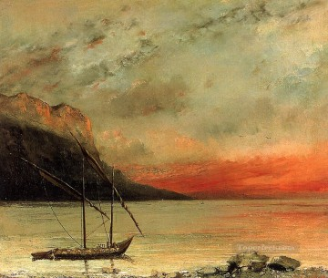 Gustave Courbet Painting - Sunset on Lake Leman Realist painter Gustave Courbet