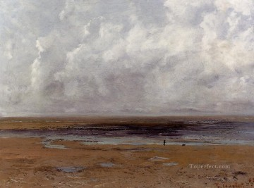 The Beach at Trouville at Low Tide Realist painter Gustave Courbet Oil Paintings