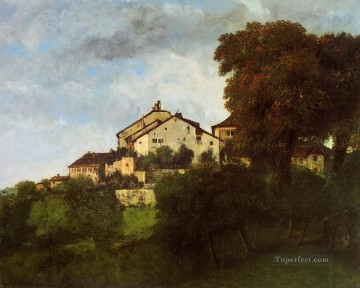 The Houses of the Chateau d Ornans Realist painter Gustave Courbet Oil Paintings