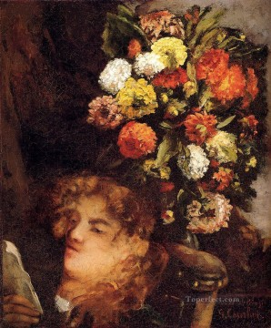 realism Canvas - Head Of A Woman With Flowers Realist Realism painter Gustave Courbet