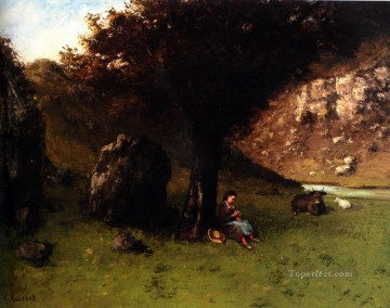 Petit Art - La Petite Bergere The Young Shepherdess Realist painter Gustave Courbet
