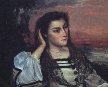realism Canvas - Portrait of Gabrielle Borreau The Dreamer Realist Realism painter Gustave Courbet