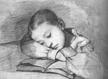 child Painting - Portrait of Juliette Courbet as a Sleeping Child WBM Realist Realism painter Gustave Courbet