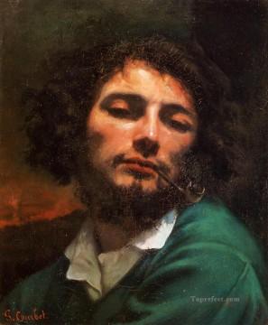 realism Canvas - Portrait of the Artist aka Man with a Pipe Realist Realism painter Gustave Courbet
