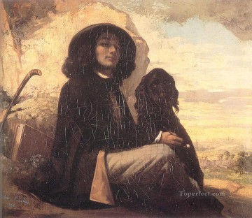 Self Painting - Self Portrait Courbet with a Black Dog Realist Realism painter Gustave Courbet