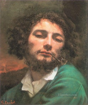 Realism Canvas - Self Portrait Man with a Pipe Realist Realism painter Gustave Courbet