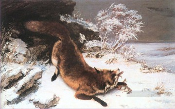 realism painting - The Fox in the Snow Realist Realism painter Gustave Courbet