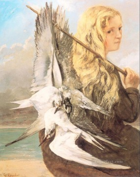 realism Canvas - The Girl with the Seagulls Trouville Realist Realism painter Gustave Courbet