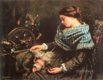 realism painting - The Sleeping Spinner Realist Realism painter Gustave Courbet