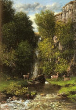 waterfall Painting - A Family Of Deer In A Landscape With A Waterfall Realist painter Gustave Courbet