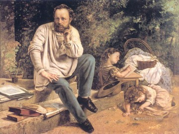 Realism Canvas - Portrait of PJ Proudhon in 1853 Realist Realism painter Gustave Courbet