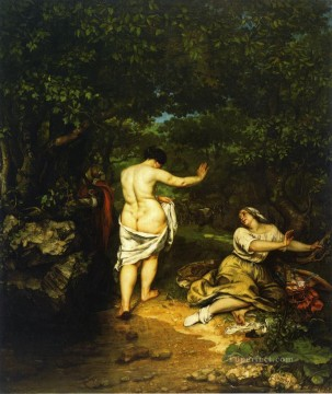 realism Canvas - The Bathers Realist Realism painter Gustave Courbet