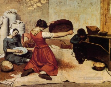 realism painting - The Grain Sifters Realist Realism painter Gustave Courbet