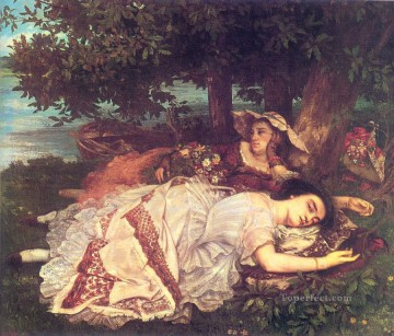 realism realist Painting - The Young Ladies on the Banks of the Seine Realist Realism painter Gustave Courbet