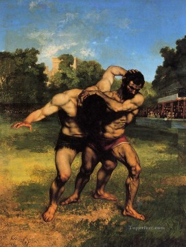 Rest Painting - The Wrestlers Realist Realism painter Gustave Courbet