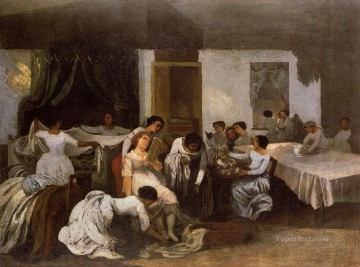 realism painting - Dressing the Dead Girl Dressing the Bride Realist Realism painter Gustave Courbet