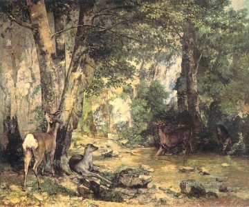 stream Painting - The Shelter of the Roe Deer at the Stream of Plaisir Fontaine Doubs Realist painter Gustave Courbet