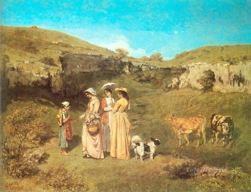 The Young Ladies of the Village CGF Realist Realism painter Gustave Courbet Oil Paintings