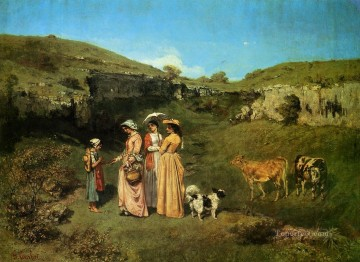 The Young Ladies of the Village Realist Realism painter Gustave Courbet Oil Paintings