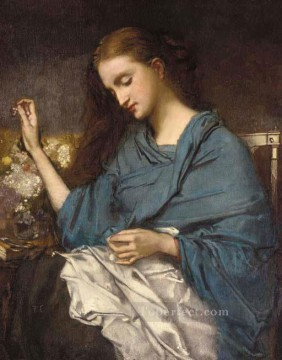 Jeune Femme Cousant figure painter Thomas Couture Oil Paintings