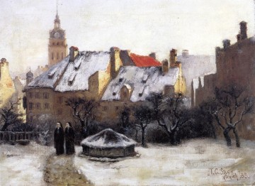 the Canvas - Steele Theodore Clement Winter Afternoon Old Munich figure painter Thomas Couture