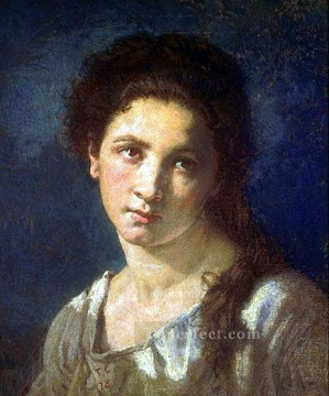Artists Oil Painting - The Artists Daughter figure painter Thomas Couture