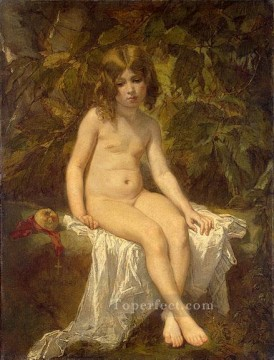 Bath Painting - The Little Bather figure painter Thomas Couture
