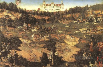 Lucas Cranach the Elder Painting - Hunt In Honour Of Charles V At The Castle Of Torgau Renaissance Lucas Cranach the Elder