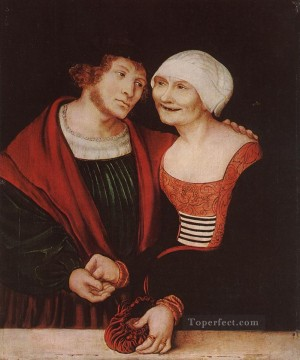 Woman Painting - Amorous Old Woman And Young Man Renaissance Lucas Cranach the Elder