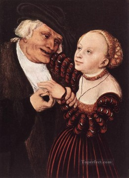 Lucas Cranach the Elder Painting - Old Man And Young Woman Renaissance Lucas Cranach the Elder