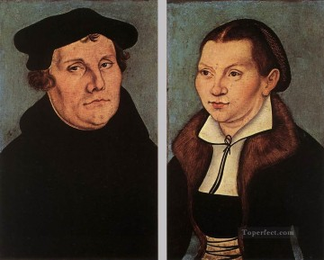 cat Art Painting - Portraits Of Martin Luther And Catherine Bore Renaissance Lucas Cranach the Elder