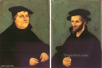 Lucas Cranach the Elder Painting - Portraits Of Martin Luther And Philipp Melanchthon Renaissance Lucas Cranach the Elder