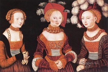 Lucas Cranach the Elder Painting - Saxon Princesses Sibylla Emilia And Sidonia Renaissance Lucas Cranach the Elder