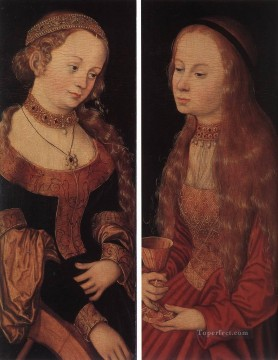 cat Art Painting - St Catherine Of Alexandria And St Barbara Renaissance Lucas Cranach the Elder