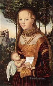 child Painting - Young Mother And Child Renaissance Lucas Cranach the Elder