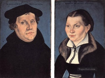 renaissance Painting - diptych With The Portraits Of Luther And His Wife Renaissance Lucas Cranach the Elder