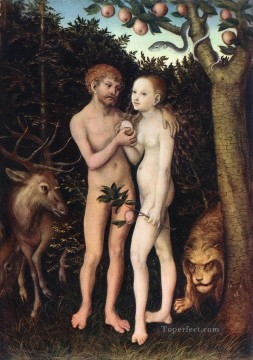 adam Painting - Adam And Eve 1533 Lucas Cranach the Elder