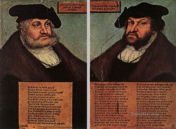 red Oil Painting - Portraits Of Johann I And Frederick III Renaissance Lucas Cranach the Elder