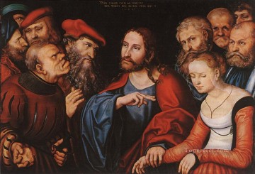 Lucas Cranach the Elder Painting - Christ And The Adulteress Renaissance Lucas Cranach the Elder