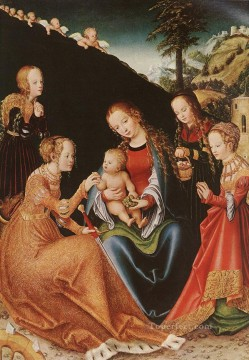 Lucas Cranach the Elder Painting - the Mystic Marriage Of St Catherine Lucas Cranach the Elder