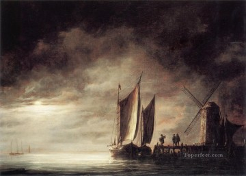 Seascape Canvas - Moonlight seascape scenery painter Aelbert Cuyp