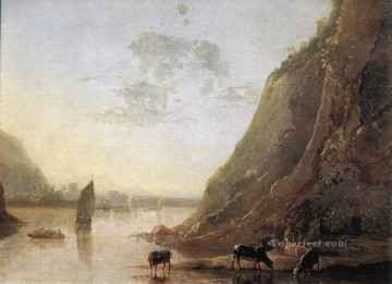 painter Oil Painting - River Bank With Cows countryside painter Aelbert Cuyp