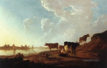 painter Art - River Scene With Milking Woman countryside painter Aelbert Cuyp