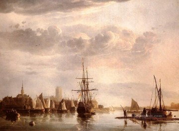 painter Art - View Of Dordrecht seascape scenery painter Aelbert Cuyp