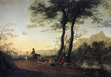 painter Canvas - A Road Near A River countryside scenery painter Aelbert Cuyp