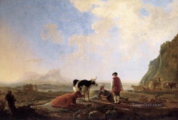 painter Art - Herdsmen With Cows countryside scenery painter Aelbert Cuyp