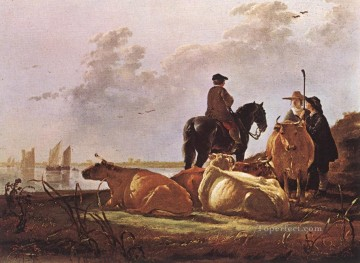 Aelbert Cuyp Painting - Peasants With Four Cows By The River Merwede countryside painter Aelbert Cuyp