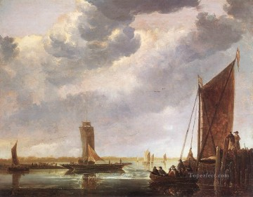 painter Canvas - The Ferry Boat seascape scenery painter Aelbert Cuyp