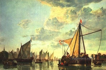 painter Oil Painting - The Maas At Dordrecht seascape painter Aelbert Cuyp