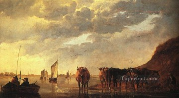 painter Art - herdsman With Cows By A River countryside scenery painter Aelbert Cuyp